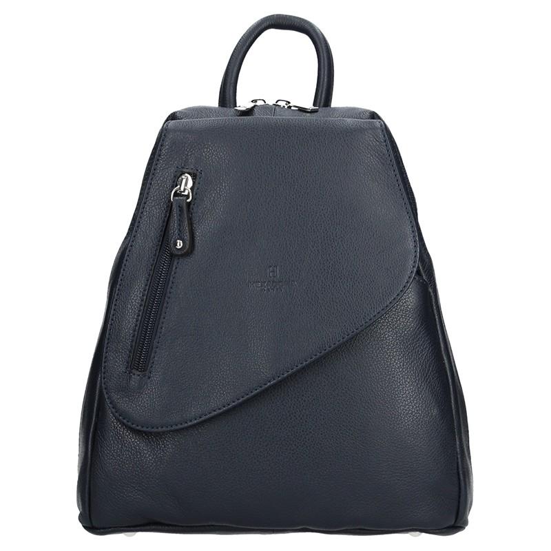 Dámsky kožený batoh Hexagona 464783 - tmavo modrá