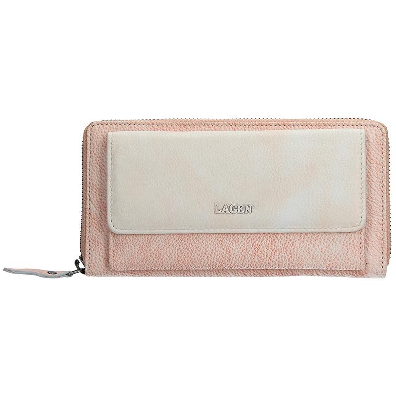 Dámska kožená peňaženka Lagen Maria - ružovo-béžová