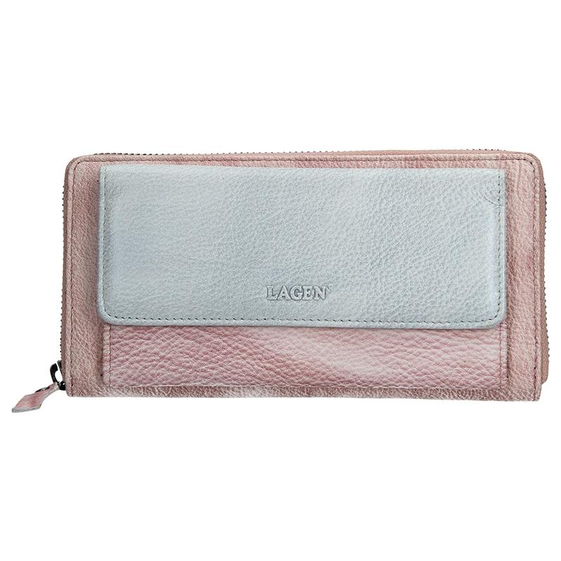 Dámska kožená peňaženka Lagen Maria - fialovo-strieborná