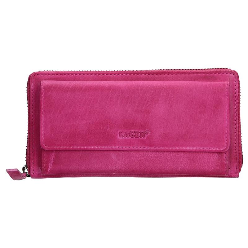 Dámska kožená peňaženka Lagen Maria - ružová