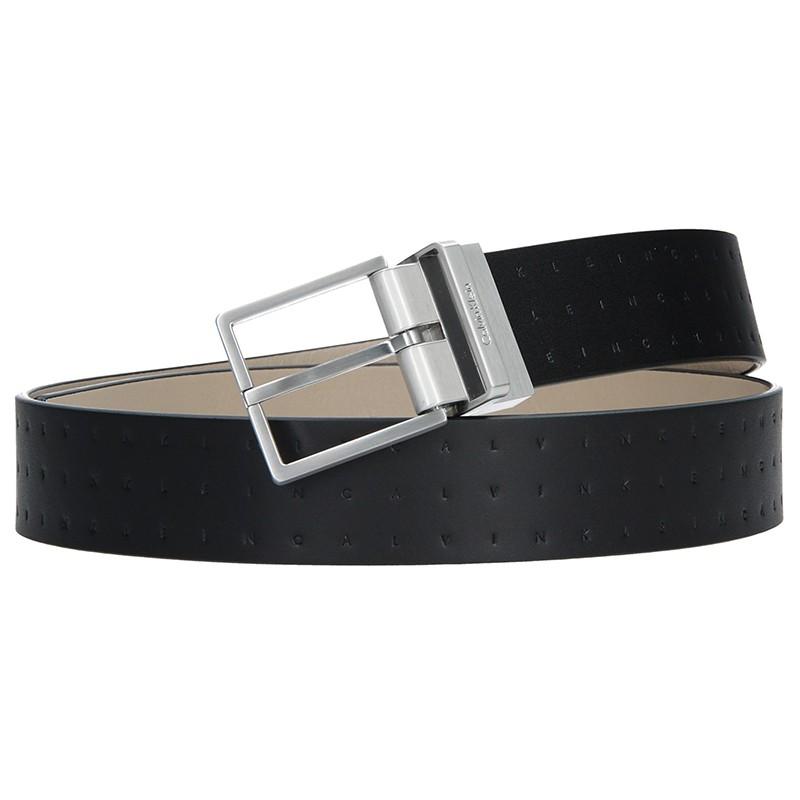 Čierny kožený pánsky opasok Calvin Klein Vitel