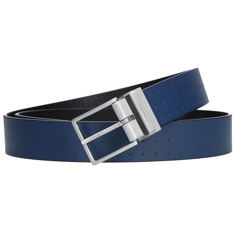 Modrý kožený pánsky opasok Calvin Klein tic - modrá