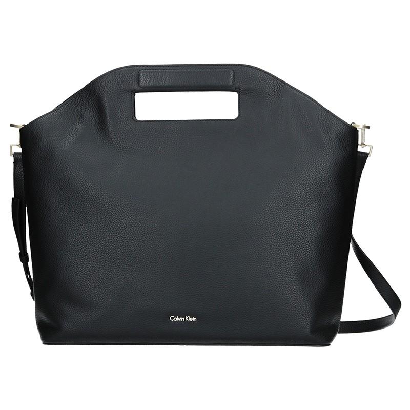 Kožená Dámska kabelka Calvin Klein Grand Sac Tote - čierna