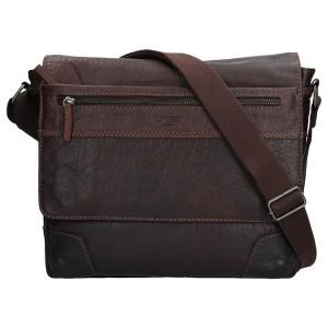 Pánská kožená taška přes rameno Lagen Marvel - tmavě hnědá