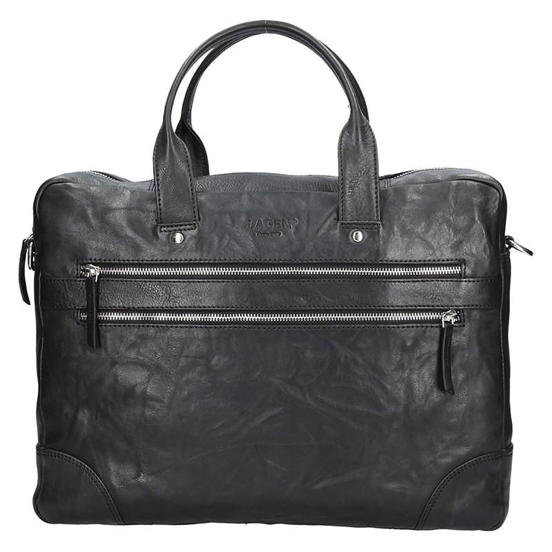 Pánska kožená business taška Lagen Edgar - čierna