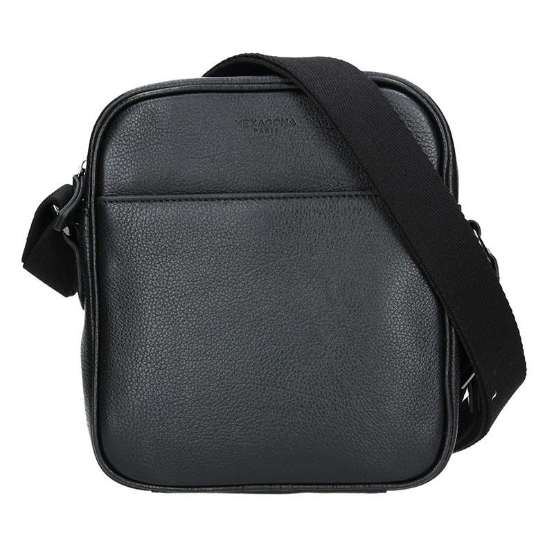 Pánska kožená taška cez rameno Hexagona Ermin - čierna