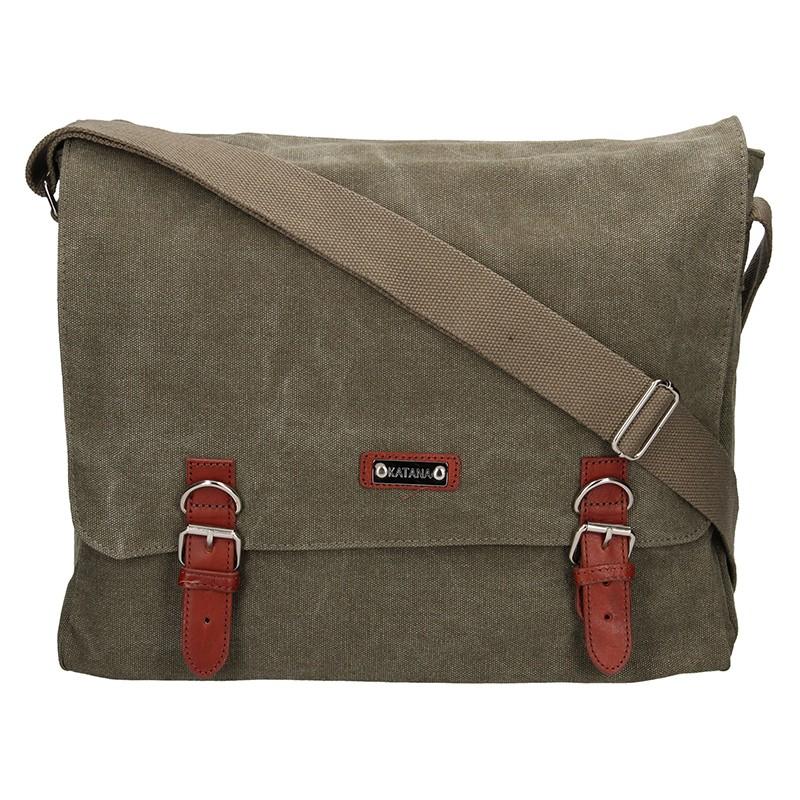 Pánska taška Katana Toile - zeleno-hnedá