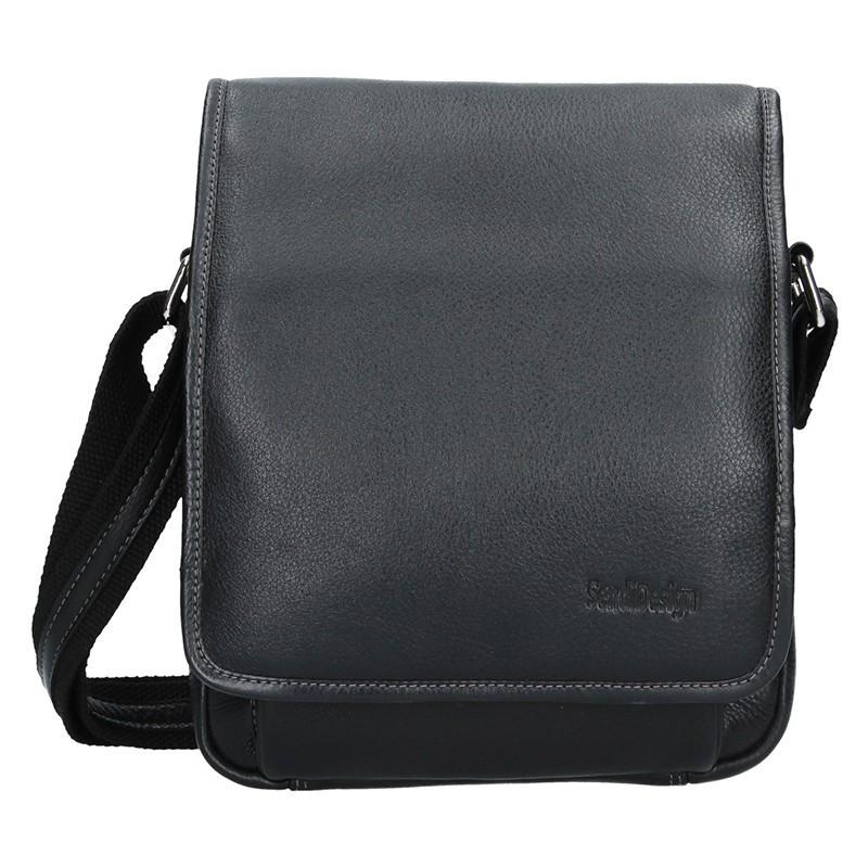 Pánska kožená taška cez rameno SendiDesign David - čierna