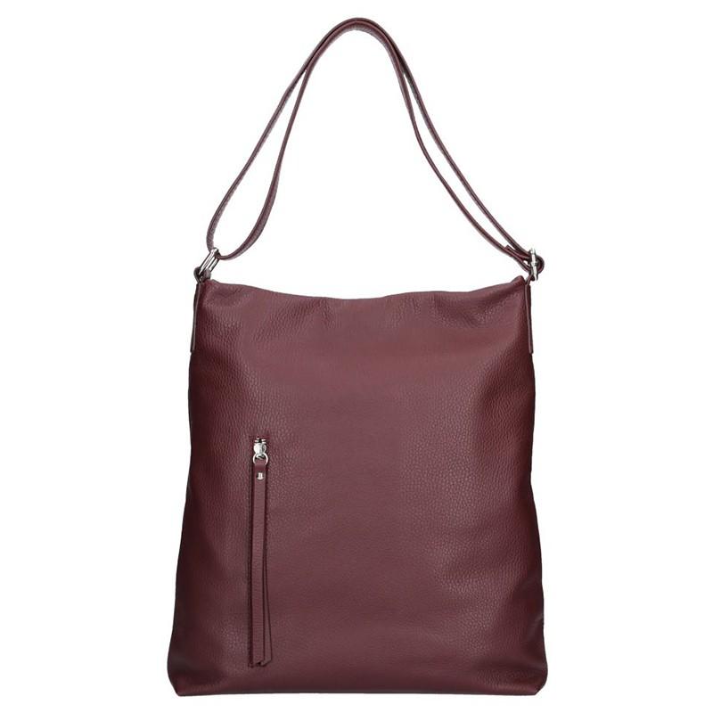 Dámska kožená kabelka Facebag Milen - vínová