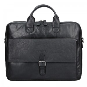 Pánská kožená taška přes rameno Justified Filip - černá