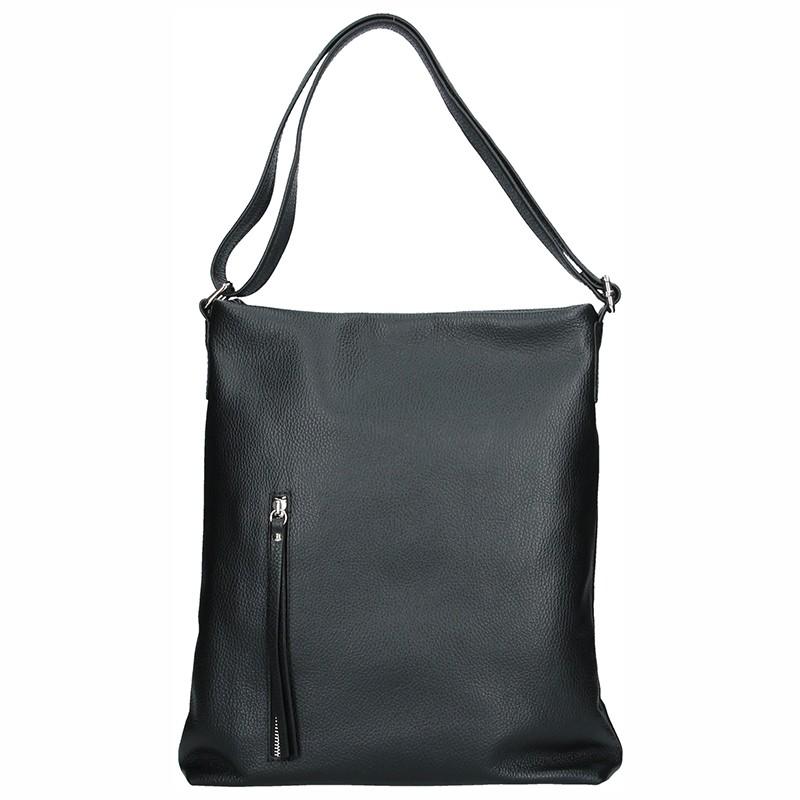 Dámska kožená kabelka Facebag Milen - čierna
