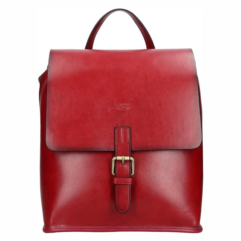 Elegantní dámský kožený batoh Katana Petra - tmavě červená