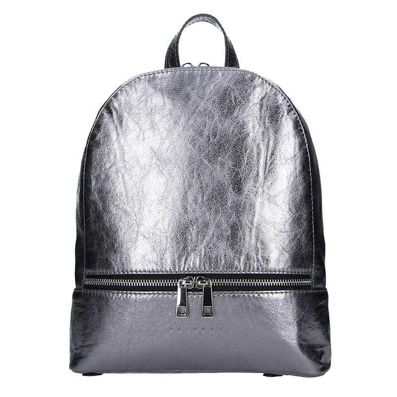 Dámsky kožený batoh Facebag Paloma - strieborná.