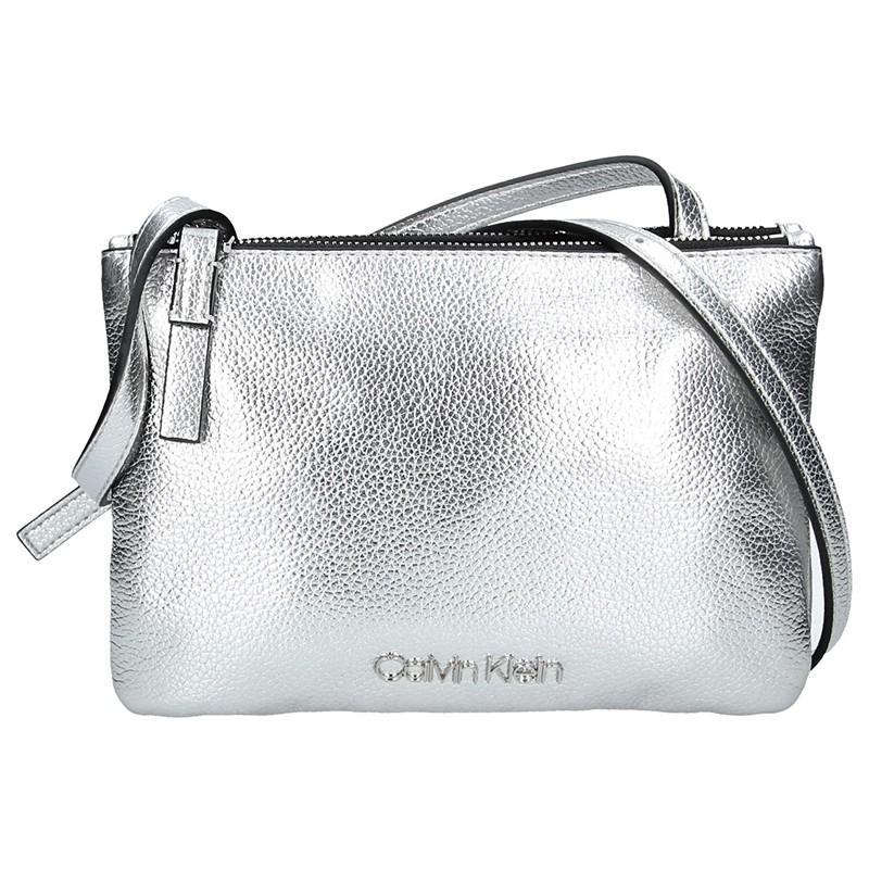 Dámska crossbody kabelka Calvin Klein Gwen - strieborná