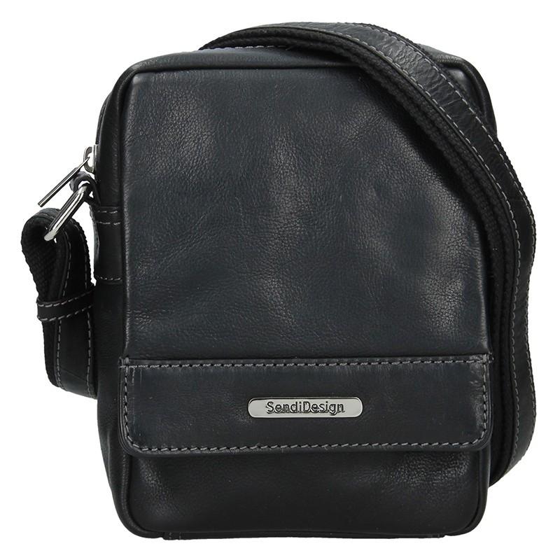 Pánska kožená taška cez rameno SendiDesign Morell - čierna