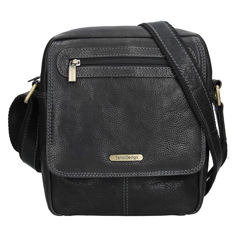 0e2dec782 Pánska kožená taška cez rameno SendiDesign Druso - čierná