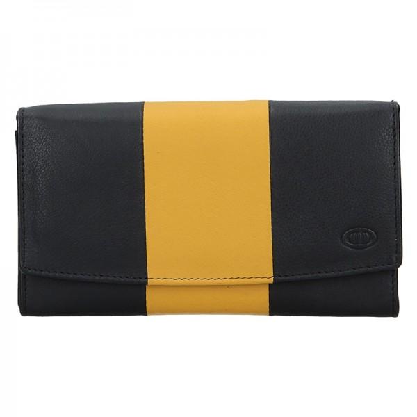 Dámska kožená peňaženka DD Anekta Alena - čierno-žltá