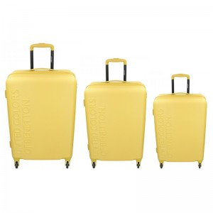 Sada 3 cestovných kufrov United Colors of Benetton Aura S,M,L - žltá