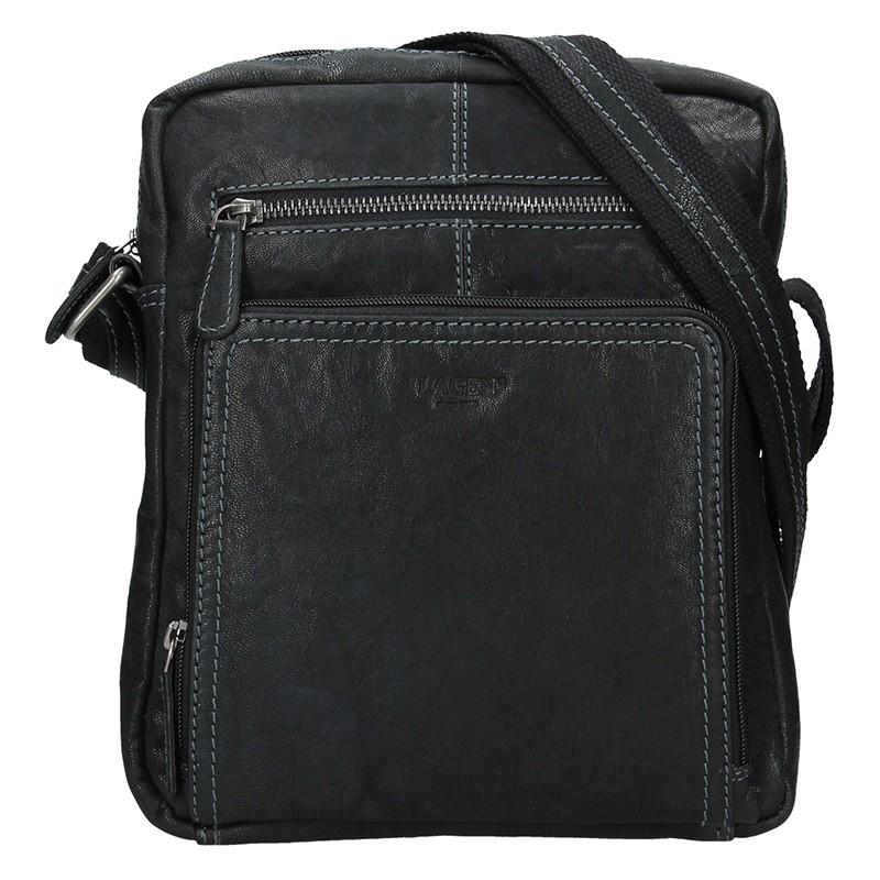 Pánska kožená taška cez rameno Lagen Lech - čierna
