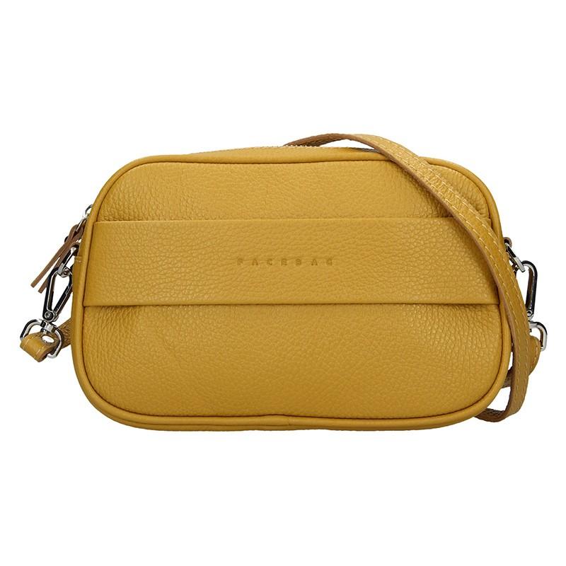 Trendy dámska kožená crossbody kabelka Facebag Ninas - Hořčicová.