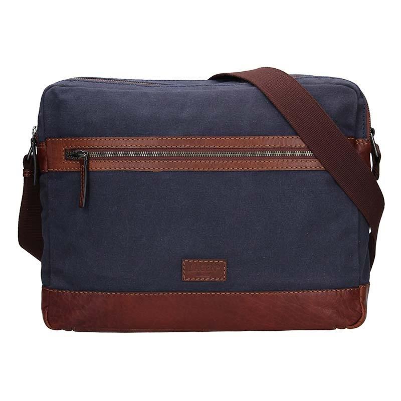 Pánska taška cez rameno Lagen Marlon - modro-hnedá