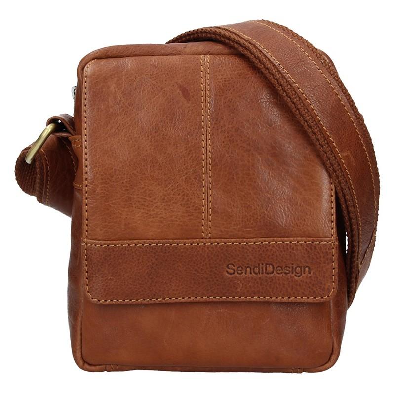 Pánska kožená taška cez rameno SendiDesign Petrson - koňak