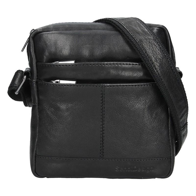 Pánska kožená taška cez rameno SendiDesign Jokl - čierna