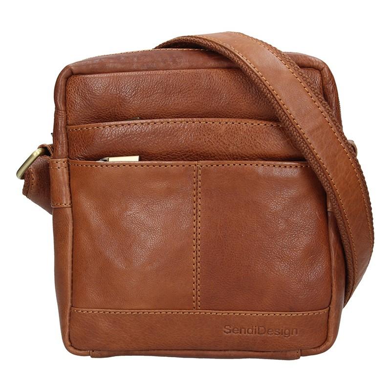 Pánska kožená taška cez rameno SendiDesign Jokl - koňak