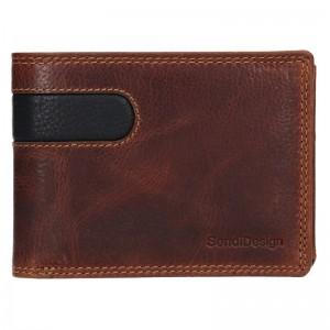 Pánska kožená peňaženka SendiDesign Amarel - hnedo-čierna