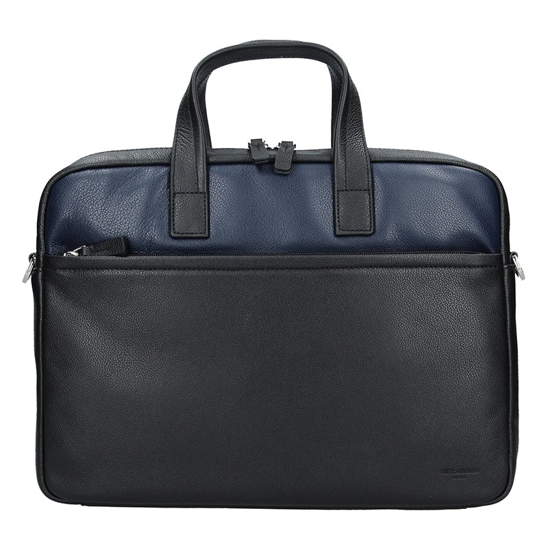 Pánska kožená taška cez rameno Hexagon Amarela - čierno-modrá