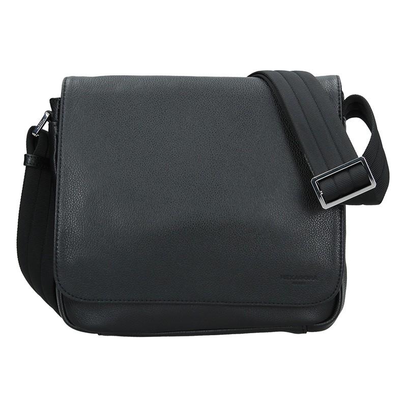 Pánska kožená taška cez rameno Hexagon Leopold - čierná