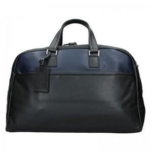 Pánska celokožená cestovná taška Hexagon Tobias - čierno-modrá