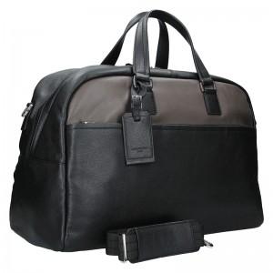 Pánska celokožená cestovná taška Hexagon Tobias - čierno-hnedá