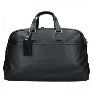 Pánska celokožená cestovná taška Hexagon Tobias - čierná