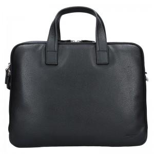 Pánska kožená taška cez rameno Hexagona Nicolas - čierno-modrá
