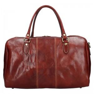Pánska celokožená cestovná taška Vera Pelle Milano - hnedá