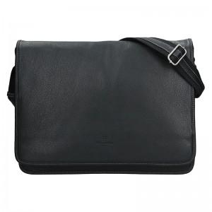 Pánska celokožená taška cez rameno Hexagona Konrad - čierna