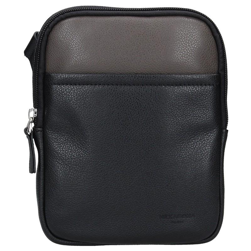 Pánska taška na doklady Hexagon Ruben - čierno-hnedá