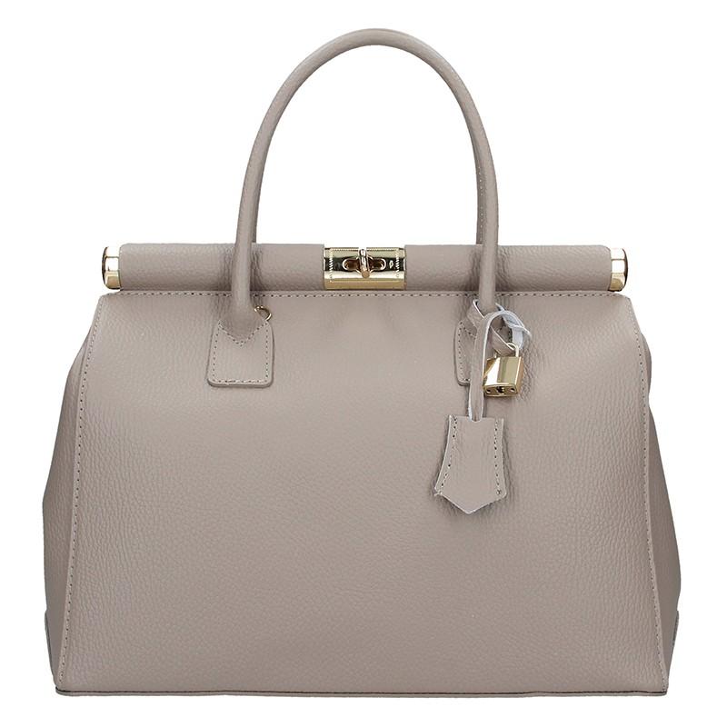 Dámska kožená kabelka Delami Bonny - šedá
