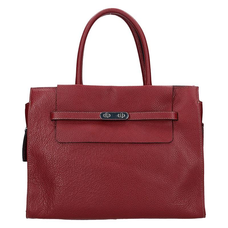 Elegantná dámska kožená kabelka Katana Aurora - vínová