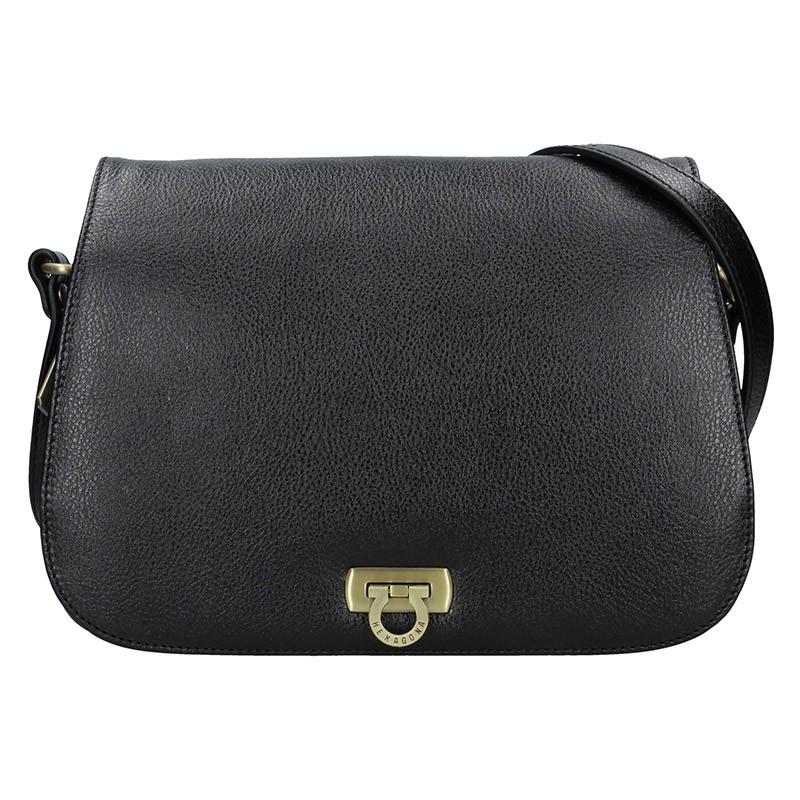 Dámska kožená kabelka Hexagona Alessia - čierná