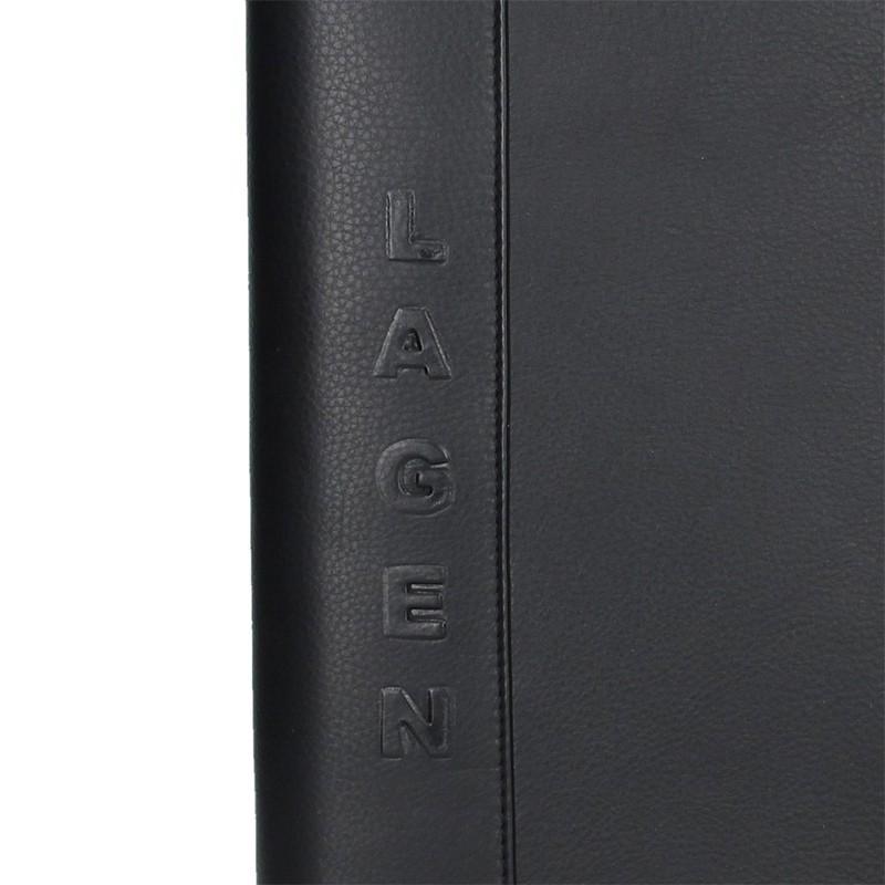 Celokožená pánska spisovka Lagen Lenon - čierna