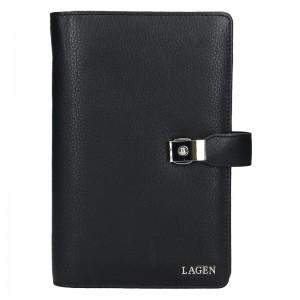 Luxusné celokožené pánske etue Lagen Note - čierna