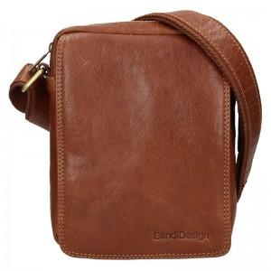 Pánska kožená taška cez rameno SendiDesign Danet - koňak