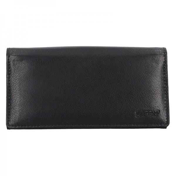 Čašnícka kožená peňaženka Lagen Menole - čierna