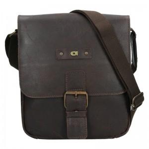 Pánska kožená taška Daag Benn - tmavo hnedá