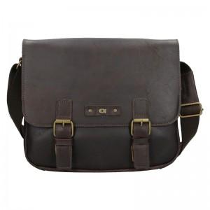 Pánska kožená taška Daag Elianto - tmavo hnedá
