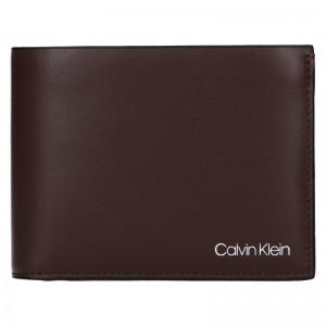 Pánska kožená peňaženka Calvin Klein Ferian - tmavo hnedá