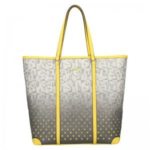 Dámska kabelka Sisley Brenda - šedo-žltá