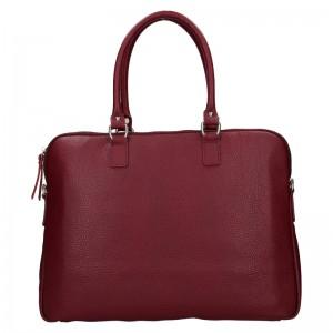 Dámska kožená taška na notebook Facebag Milanos - vínová